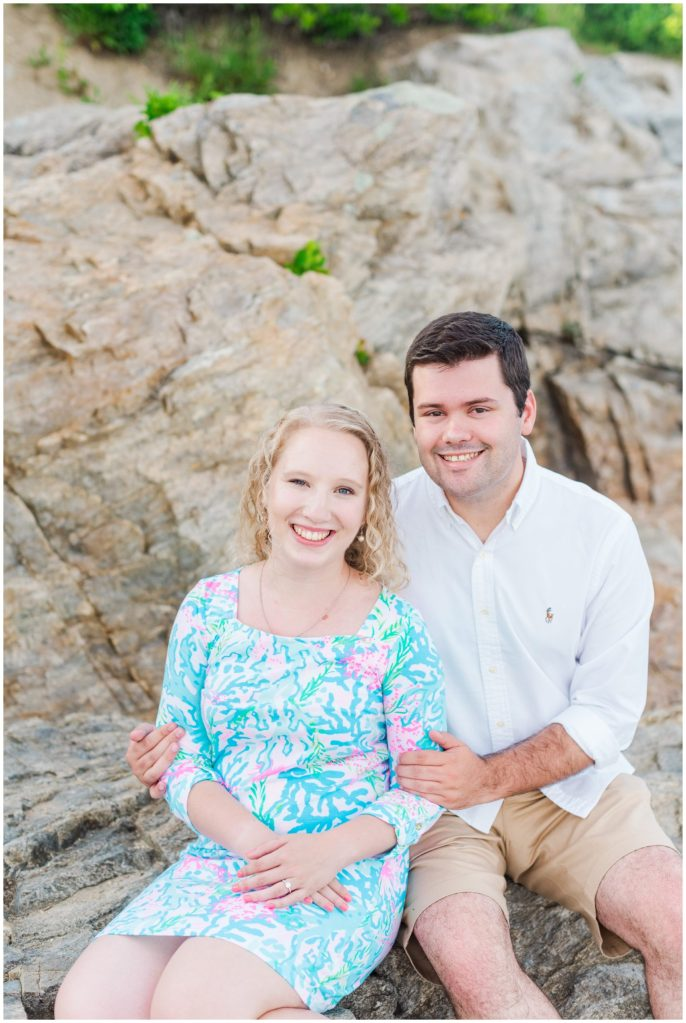 fort williams engagement session on the cliff edge behind the fort