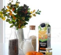 hollur morgunmatur, chia grautur með höfrum, kókos, banana og appelsínu