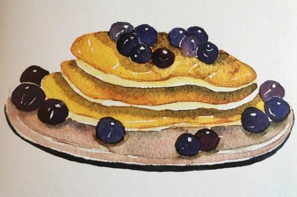 blueberry-pancake-watercolor