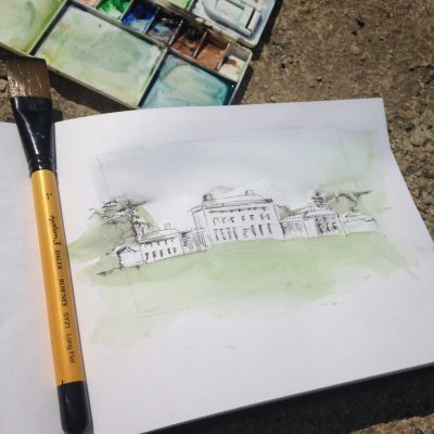 Watercolour sketch of Castletown House in Celbridge by Kildare based Linda Byrne