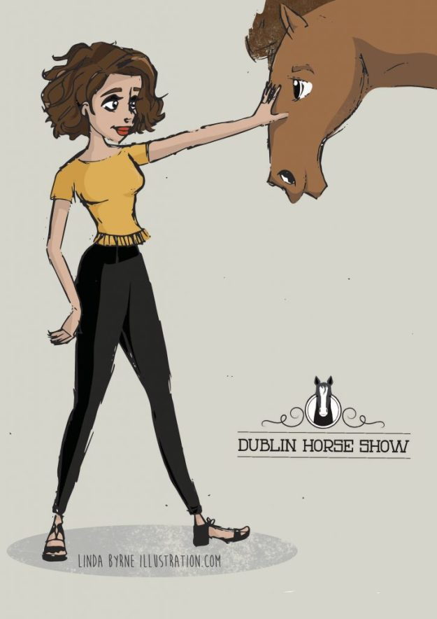Dublin Horse Show, Horse illustration, Fashion illustration with horse, What I Wore Today, Illustrated girl in mustard top, Illustration of dublin horse show, illustration of girl with horse, Linda Byrne, Dublin Fashion illustration, Fashion Sketch.