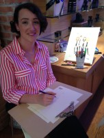 Illustrator Linda Byrne live sketching at Kiehl's Wicklow St Dublin