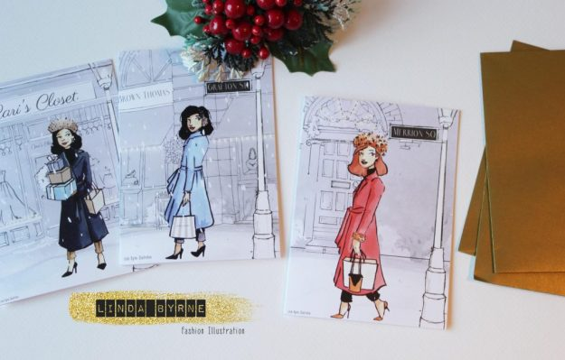 Illustrated Christmas Cards, Fashion illustration christmas cards, stylish christmas cards, Dublin christmas Cards, Linda Byrne, Illustration, Illustrator, Christmas cards with girl on front.