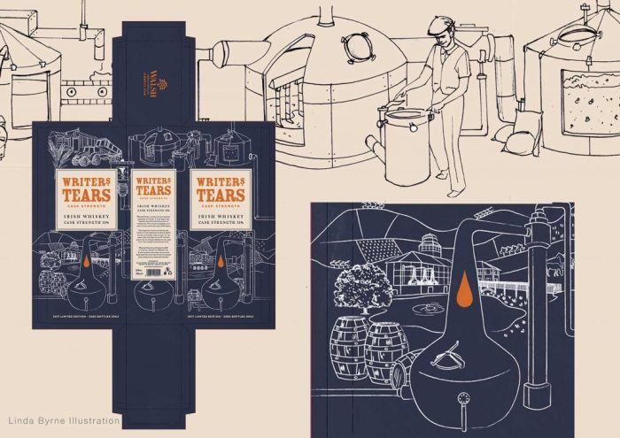 Walsh Whiskey Writers Tears Packaging, Linda Byrne Illustration, Packaging Design, Illustration, Irish Whiskey. Design