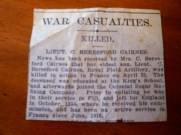 1917 WBC's cousins son killed in action in France