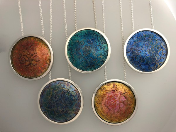 Indian Memories silver and enamel pendants inspired by saris and textiles