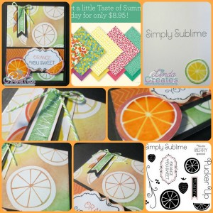 Taste of Summer Papers and Stamps Card Collage Linda Creates ~ Linda Caler www.lindacreates.com www.lindacreates.ctmh.com