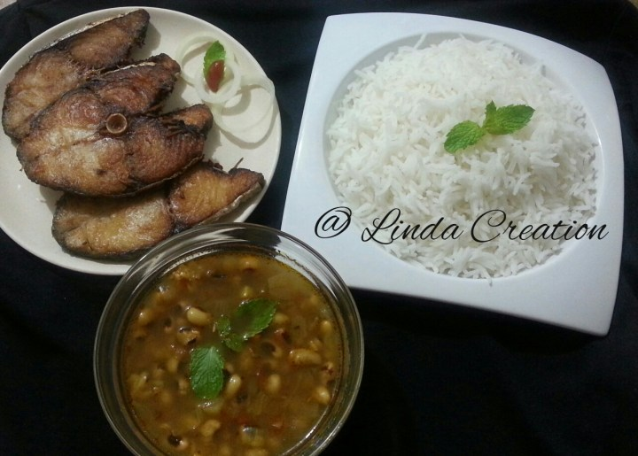 Black Eye Bean Curry with Fry King Fish