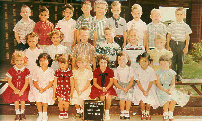 Linda is on the front row, bottom right. 5 years old, kindergarten class picture