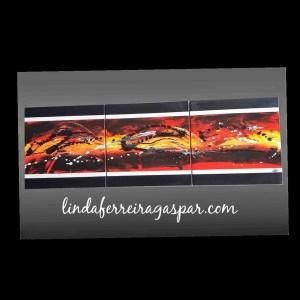 Tableau abstrait contemporain triptyque jaune orange rouge et noir
