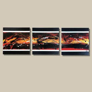tableau abstrait triptyque fait main rouge jaune et noir