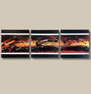 Tableau abstrait triptyque rouge jaune et noir - Fogo