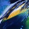 Tableau abstrait moderne quadriptyque, peinture abstraite moderne bleu jaune violet noir peinte à la main
