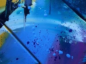 Tableau abstrait moderne, peinture abstraite moderne coloré bleu jaune violet