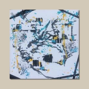 tableau abstrait moderne bleu et jaune