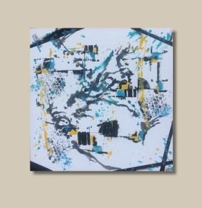 Tableau abstrait jaune bleu noir - Strass