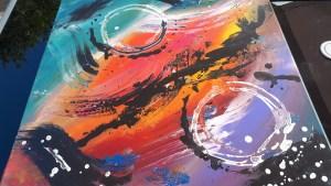 Tableau abstrait moderne coloré, peinture abstraite réalisé à la main vert violet rouge jaune