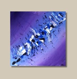 Tableau abstrait coloré bleu violet et blanc - Silla