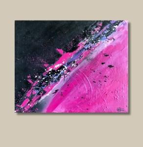 Tableau abstrait rose et noir - Leziria
