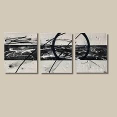 tableau abstrait fait main noir et blanc triptyque