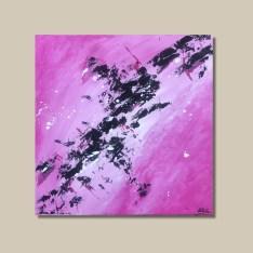 tableau abstrait rose et noir rosa