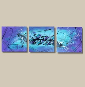 Tableau abstrait triptyque bleu et violet