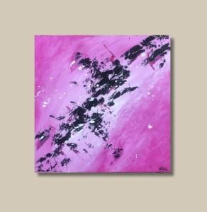 Tableau abstrait fait main rose et noir - Rosa