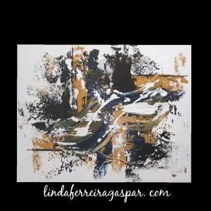 Tableau abstrait bleu et ocre - Beja