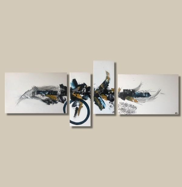 tableau abstrait quadriptyque bleu et ocre
