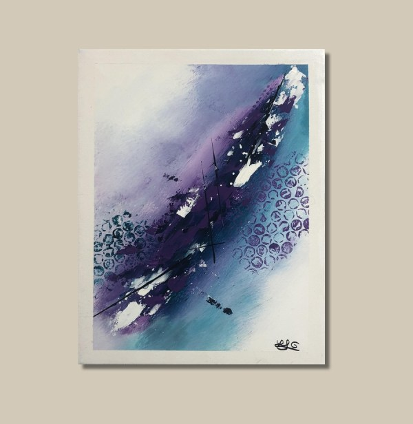 tableau abstrait violet et bleu