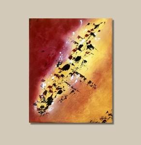 tableau abstrait rouge orange et jaune fait main