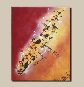 Tableau abstrait rouge orange et jaune - Olhao