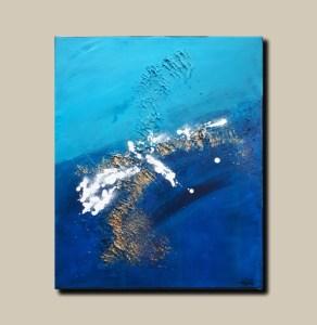 Tableau abstrait bleu doré et blanc - Faro
