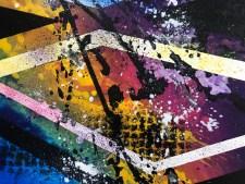 Tableau abstrait coloré bleu jaune vert violet - Seia