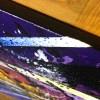 Tableau abstrait moderne, peinture abstraite moderne réalisé à la main violet jaune bleu et vert