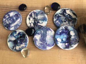 Lot de 6 sous-verres bleus faits à la main acrylique et résine
