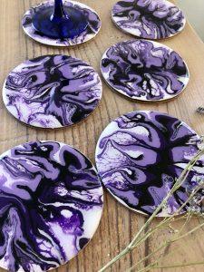 lot de 6 sous verres violet