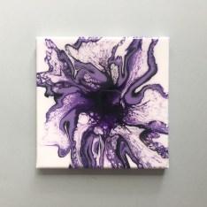 tableau d'art fluide violet fait main