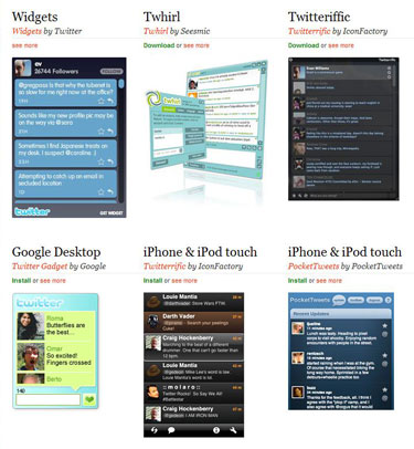 Screen image of some of the Twitter apps