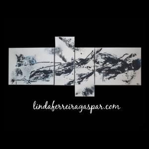 Tableau abstrait contemporain quadriptyque réalisé à la main
