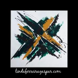 Tableau abstrait vert et ocre - Amadora