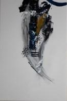 Tableau abstrait contemporain bleu et ocre quadriptyque peint à la main