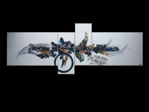 Tableau abstrait quadriptyque bleu et ocre - Maya