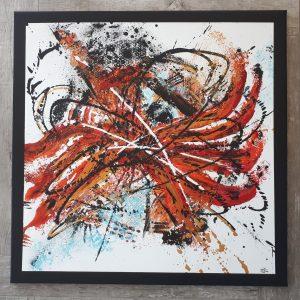 Tableau abstrait orange rouge bleu et noir - Elvas