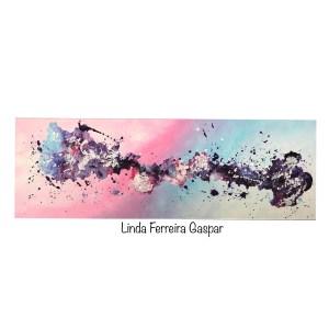 Tableau abstrait moderne fait main rose bleu - Dona