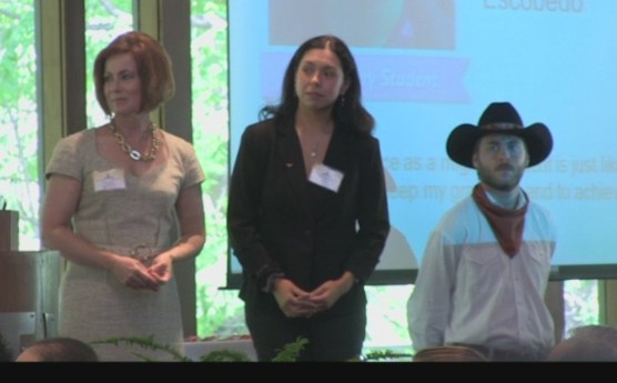 Dr. Glessner, Gisela Greco-Llamas and a Texas Cowboy at the 2012 Exemplary Migrant Student Recognition Ceremony.