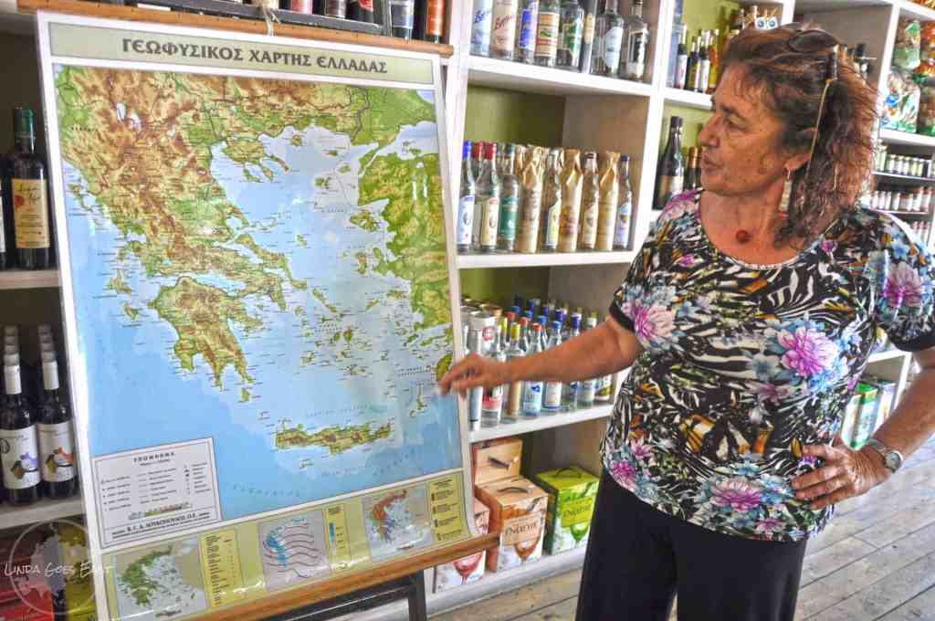 Despina explaining how foreign countries influenced Greek food and vice versa