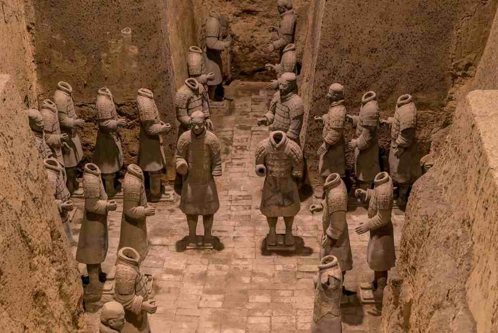 Xian China Historic Restored Terra Cotta Warriors ruin in a museum in Xian.