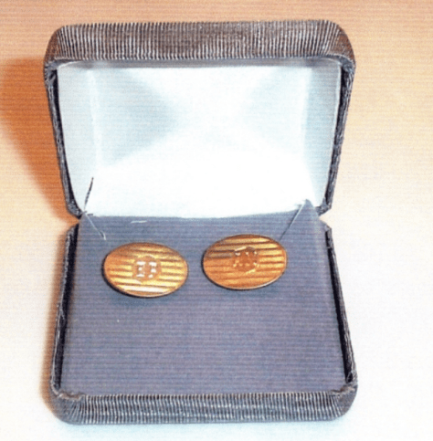 Cuff links which Jesse sent to Hinton