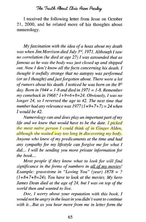 Ginger Alden in Jesse's letter